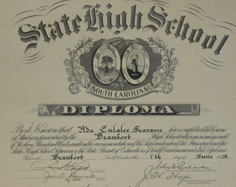 Diploma 1929 Beaufort SC High School Engraved Document Calligraphy Vintage South Carolina Antique Paper Ephemera History Depression Era