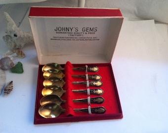 Vintage Thailand Enamel Demitasse Spoons Brass and Black Enamel Great for Spoon Rings In Original Box