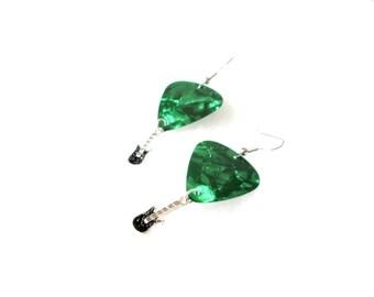 Green Guitar Pick Dangle Earrings
