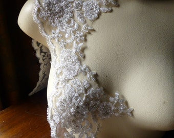 Beaded Lace in Silver and White with Faux Pearls for Bridal, Costume Design