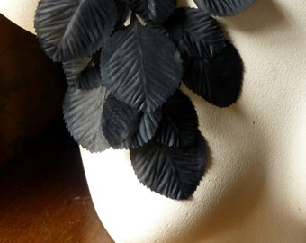 SALE Vintage Black Leaves in Silk for Bridal, Boutonnieres, Headbands, Millinery