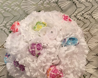 White Lollipop Bouquet,  Dance Recital Lollipop Bouquet, Commuion Lollipop Bouquet