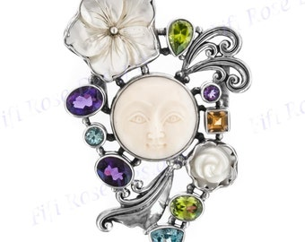 "2 3/4"" Moonface Amethyst Mother Of Pearl Flower Sliding 925 Sterling Silver Pendant"