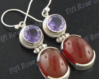 """1 3/16"""" Carnelian Amethyst 925 Sterling Silver Earrings"""