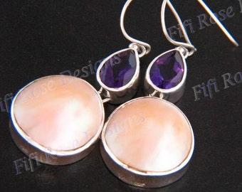 "1 3/16"" Gold Abalone Shell Amethyst 925 Sterling Silver Earrings"