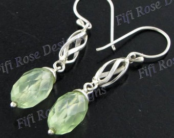 "1 1/16"" Prehnite 925 Sterling Silver Drop Earrings"