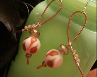 Lampwork copper earrings
