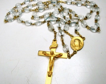 Vintage Clear GLASS ROSARY Beads, Sturdy Soldered links, Brass Crucifix, Religious Christian, Roman Catholic