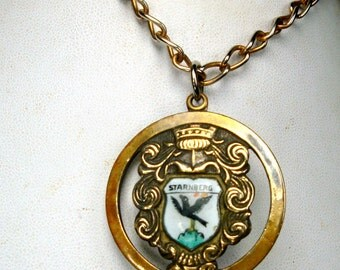1960s STARNBERG  Germany CREST Pendant Necklace, Enamel Shield On Gold Royal Medallion, Recycled Gold Chain