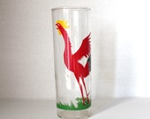 Vintage Rooster Highball Glass / Long Drink Cup