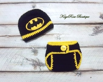Batman Inspired Newborn to Three Month Old Baby Boy Crochet Hat and Diaper Cover Set Yellow and Black