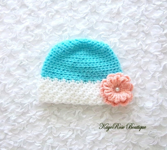 Crochet Hat Pattern For 8 Month Old : Newborn to 3 Month Old Baby Girl Crochet Flower Hat Blue Peach