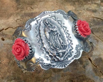 C10 Guadalupe Virgin Mary Madonna with Coral Rose Flower Sterling Silver Southwestern Native Style Cuff Bracelet