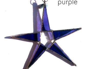 Purple Stained Glass Star Suncatcher