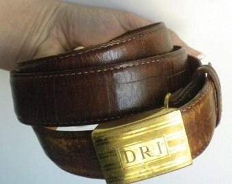 Martin Dingman Brown Alligator Grain Calfskin - Men's Belt - Size Adjustable