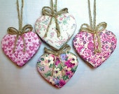 Pink Heart Ornaments | Spring Decor | Wedding/Bridal | Party Favors | Holidays | Valentine's Day | Birthday | Tree Ornaments | Set/4 |  #2