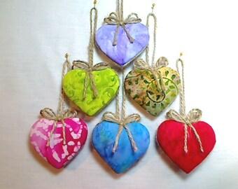 Batik Heart Ornaments | Valentine's Day | Party Favor | Holidays | Wedding Bridal | Birthday | Tree Ornament | Handmade Ornament | Set/6 #1