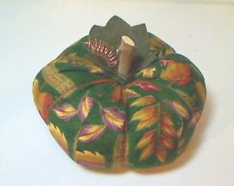 Size 7 | Green Leaf Fabric Pumpkin |Thanksgiving Decor | Halloween decor |Fall Decoration |Stuffed Pumpkin | Handmade Gift | Table Decor |#5