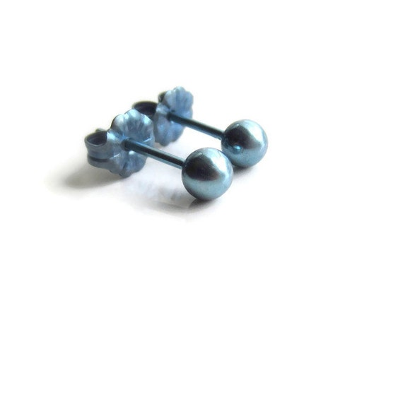 grade titanium earrings blue titanium stud earrings for sensitive ear by graceearrings 863