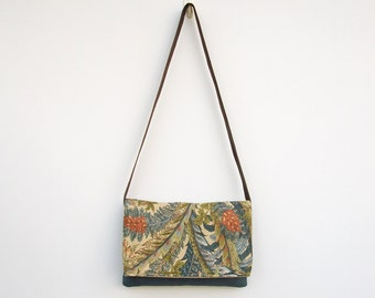 Green and Blue Messenger Bag, Blue Purse, Faux Suede Purse, Foldover Messenger Bag, Shoulder Bag, Crossbody Bag, Nature, Leaves, Tan, Medium