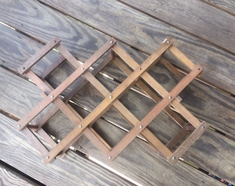 Vintage Wine Rack Wood Holds 10 Bottles Accordion Style Fold Up