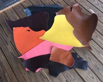 Leather Scraps for Jewelry Bracelets Purses Colored Leather Pink Orange