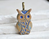 Lil' bRoWn Indigo bLuE Owl ceramic pendant, rustic pendant in stoneware clay ceramic owl jewelry, for owl lovers
