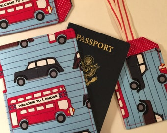Passport Cover, Travel Set, Luggage Tag Set, Buses and Cabs, Passport Wallet for Boy, Man