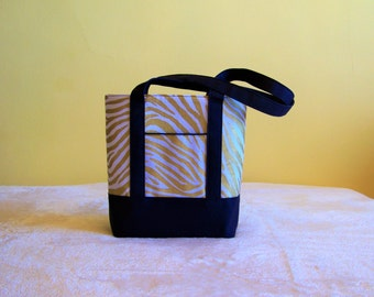 BIBLE TOTE Perfect Size for your Bible, Journal, Pens, Study guides.  Metallic Gold Zebra with Navy accents.