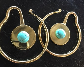 Turquoise rain earweights Gorgeous mini brass weights