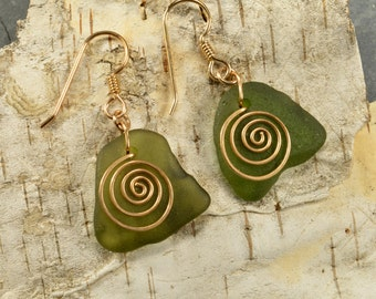 Unusual moss green genuine Maine sea / beach glass earrings with hand forged bronze spirals eco chic natural ocean style jewelry