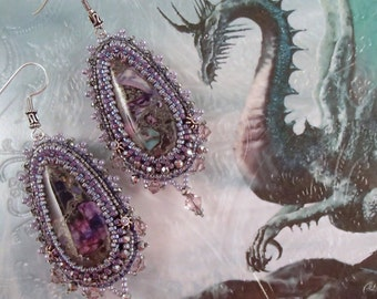 Mother of Dragons - Bead Embroidered Statement Earrings Purple Silver