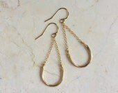 Suspended Arch Earrings. Gold. Gold Fill. Modern. Simple Hooks. Small Dangles. Golden Metal Earrings. Minimal. Modern.