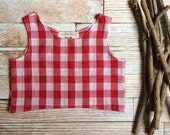 Crop top girls size 7 Buffalo plaid girl tank top red and white shirt girl juniors tween  clothes boho style summer tank picnic plaid