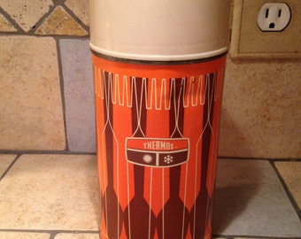 Brown and Orange Retro Pint Thermos Vacuum Bottle