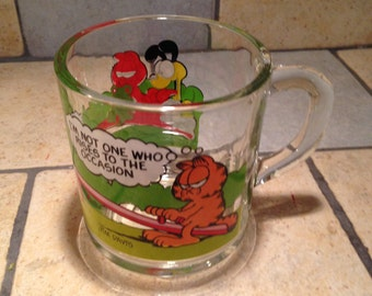 1980 Garfield I'm Not One Who Rises To The Occasion Glass Mug