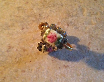 Ivory White with Pink Roses Enamel Earrings