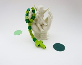 Catholic Children's Rosary or Chaplet made of Green Bricks - Green and Light green Made of Lego® Bricks