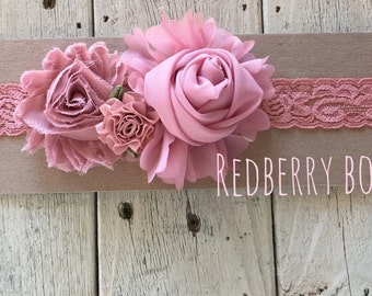VINTAGE PINK FLORAL on Stretch Lace Headband