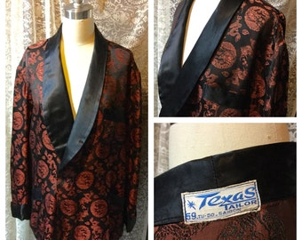 MAKE an OFFER! Very Handsome Brocade Men's Smoking Jacket by The Texas Tailor Saigon Viet Nam Shawl Collar Black Brown Asian Patterned