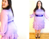 60s lavendar dream dress / country star ruffles / sheer sleeve / xl