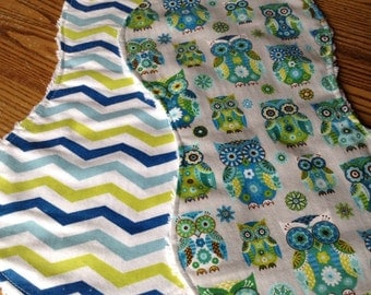 Flannel and Chenille Burp Cloths, Bright Chevron and Owls