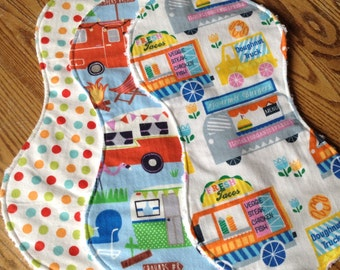 Set of Three Flannel and Chenille Burp Cloths Summer Fun, BAby Girl, ready to ship