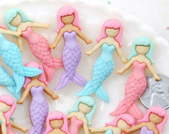 Mermaid Cabochons - 22mm NEW Cute Pastel Mermaid Resin Flatback Cabochons - 6 pc set