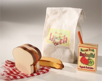 Food Wooden Picnic- PB&J Picnic Sandwich Stacker with wood banana and Juice Box in Canvas Bag