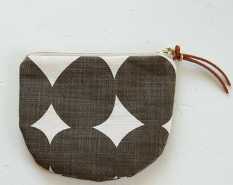 Choco-Grey Rounds Padded Round Zipper Pouch / Coin Purse / Gadget / Cosmetic Bag - READY TO SHIP