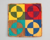 Baby Blankie, Lovey, Security Blanket - Modern Patchwork Brightly Colored Circles