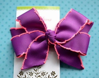 Purple With Neon Pink Crochet Edge Classic Diva Bow
