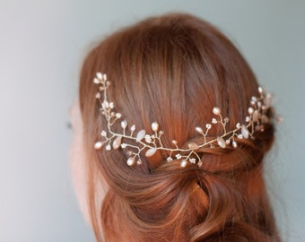 Bridal hair vine, Blush and gold wedding hair halo, Dusty Rose Pearl and crystal Gold wire branches, Wire wrapped beaded wedding hair vine