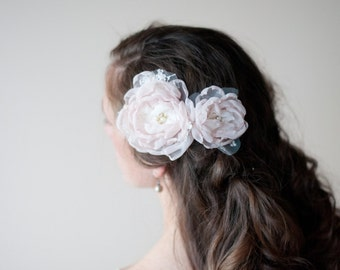 Hair flowers, pair of wedding hair clips in blush dusty pink and ivory lace, bridal rhinestones and pearls, bride and bridesmaids